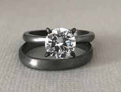 Matte Black Gold Simulated Diamond Engagement Ring Set 925