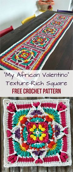"""""""My African Valentino"""" Texture-Rich Square [Free crochet Pattern] #crochet #crochetlove #square #freepattern #crochetsquares"""