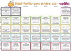 Menús mensuales para niños Healthy Menu, Healthy Kids, Baby Food Recipes, Snack Recipes, Kids Menu, Back To Basics, Weekly Menu, Meal Planning, Lunch Box