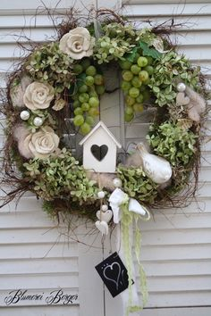 Wreaths & large wreath of moss, corkscrew willow and salim & a designer piece & Spring Door Wreaths, Easter Wreaths, Summer Wreath, Christmas Wreaths, Easter Flower Arrangements, Easter Table Decorations, Autumn Trees, How To Make Wreaths, Diy And Crafts