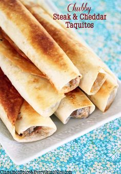 Chubby Steak and Cheddar Taquitos - make with Ditch the Wheat or Maria Emmerich's tortilla's (see post for links to chubby chicken cream cheese taquitos and taco-stuffed taquitos)