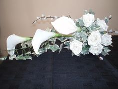 Artificial white Calla lily, Ivy and pussy willow shower bouquet by Cathey's flowers
