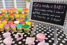 Baby shower game, Make a baby out of Play-doh! I Love Lucy themed baby shower! https://ittybittywhitty.wordpress.com/2016/01/21/we-love-lucy/ Play Doh Baby, Baby Shower Girl Games, Baby Shower Game Gifts, Baby Shower Stuff, Baby Shower Activites, Prizes For Baby Shower, Baby Shower For Girls, Baby Shower Diaper Game, Unicorn Baby Shower