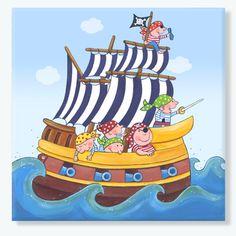 LEVAR DESIGN - Kinderzimmerbild - Piratenschiff  painted by levar design acrylpainting
