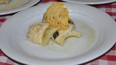 טורטליני במילוי ארטישוק וריקוטה ברוטב חמאת מרווה וארטישוק עם טוויל פרמזן
