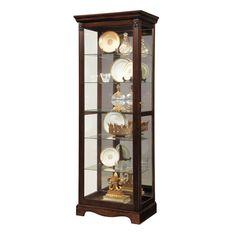 Dark Brown Wood Two Way Slider Curio Cabinet (Curio Cabinet)