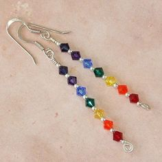 Beautiful rainbow! Rainbow Chakra Swarovski Sterling Spiral Earrings Handmade Jewelry