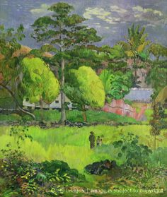 """""""Landscape (Paysage),"""" by Paul Gauguin 1901. Serene greens and blues, with a splash of pink ..."""