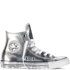 756a8e6b4ed9 Converse - Chuck Taylor All Star Chrome Leather - Silver - Hi Top Converse  Leather Shoes