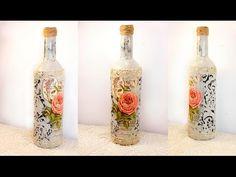 #31 decoupage lesson DIY decoupage bottles shabby chic decoupage on glass tutorial for beginners - YouTube