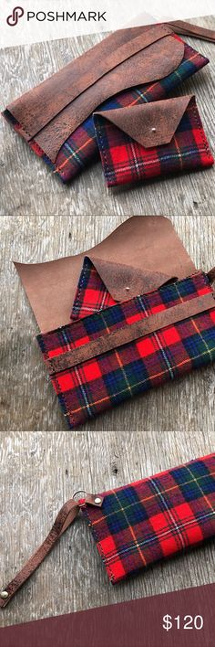 Leather & Pendleton Wool Clutch & Card Holder Set ♥️HANDMADE & HAND STITCHED BY ME♥️Leather & Vintage Pendleton Wool Clutch & Card Holder Set• Made from rustic distressed high quality buffalo leather and upcycled VINTAGE Pendleton tartan plaid wool. 100% wool fabric.  Clutch has a wristlet strap attached that is optional and can be removed. The inside interior is all leather. Comes with an adorable matching coin purse that fits perfectly inside of the clutch. A great size for holding cards…