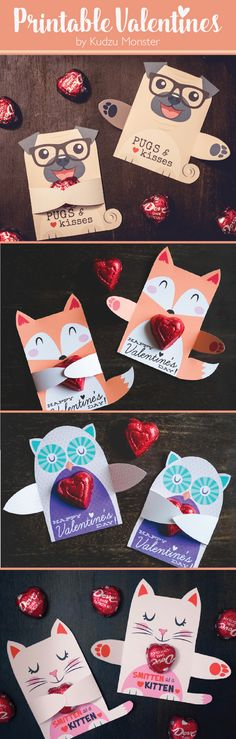 Cute animal candy hugger Valentine's Day printables for small candy or toy! Choose from lots of animals, dogs, cats, owls, foxes, cute polar bears, funny pugs, lions, tigers, and more!