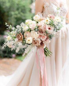 Neutral Wedding Flowers, Bridal Flowers, Floral Wedding, Ribbon Wedding, Summer Wedding Bouquets, Bride Bouquets, Wedding Dresses, Blush Bouquet, Wedding Flower Inspiration