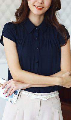 Cute Cheap Classic pure colour chiffon blouse Dark blue -