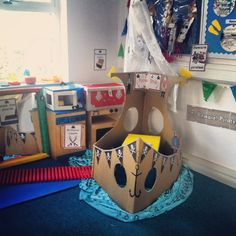 Pirate role-play area in my Early Years (SEN) classroom Classroom Layout, Classroom Organisation, Classroom Decor, School Displays, Classroom Displays, Large Cardboard Boxes, Play Corner, Reception Class, Role Play Areas