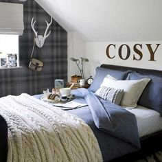 blue, plaid wallpaper, antlers, sweater throw