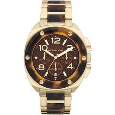 Michael Kors Mid-Size Tribeca Chronograph Watch, Golden/Tort... - Polyvore