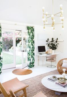 Inside a Designer's Cali-Cool Office Makeover via @MyDomaine office with a garden!