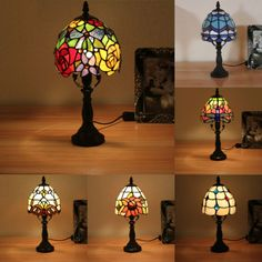 "6"" NEW Tiffany Style Stained Glass Table Lamp Handmade Bronze-7 styles to pick"