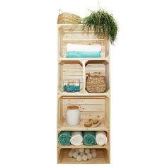Scandinavian Bathroom, Crate And Barrel, Bathroom Medicine Cabinet, Home Art, Crates, Niches, Bookcase, Sweet Home, Shelves