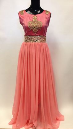 Western Indian ethnic wear georgette Readymade stitched long gown dress.Bollywood designer party wear. This long Anarkali has beautiful embroidery,crystal,bead andmirror work.The Dress is Stitched in