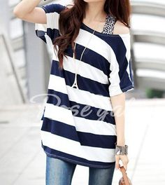 Stylish Scoop Neck Striped Short Sleeve T-Shirt For Women T-Shirts | RoseGal.com Mobile