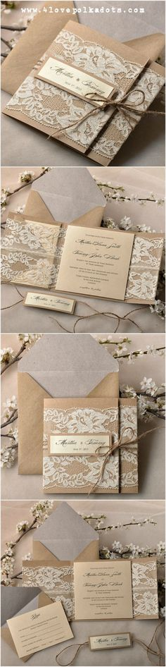 Wedding invitation with lace #4lovepoladots #weddinginvitations #weddingpaper…