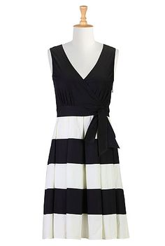 Colorblock stripe poplin dress