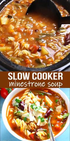 This Best Ever Slow Cooker Minestrone Soup is thick, comforting, and packed full of vegetables! It's so flavourful and easy to make, and it's the perfect way to warm up on a cold day! recipes with ground beef Vegetable Slow Cooker, Vegetable Soup Healthy, Vegetable Soup Recipes, Healthy Slow Cooker, Slow Cooker Beef, Slow Cooker Recipes, Vegetarian Recipes, Cooking Recipes, Slow Cooker Vegetarian Curry