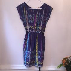 For Sale: Purple Printed Mini Dress, M for $9