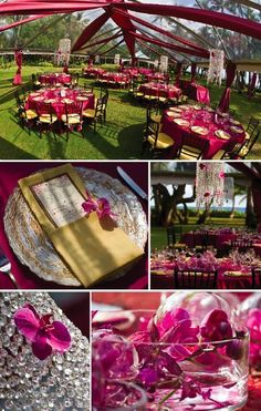 Crystal chandeliers with phalaenopsis orchids hung over each guest table... Magenta orchids intertwined with glass orbs in wide, shallow bowls as table centerpieces... So pretty