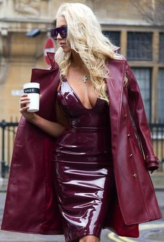 Burgundy patent leather dress leather coat fashion outfit