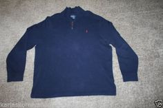 "Excellent used condition Polo Ralph Lauren Mens Navy Blue 100% Cotton 1/2 Zip Sweater Size XX Large Color is navy blue with maroon pony Pit to Pit 26 1/2"" and from shoulder to hem 30 1/2""    Returns accepted if not 100% satisfied ( No hassle return policy) *Returned in same condition you received it in. *I pay for returned shipping if it is my fault *If it is your fault you pay for returned Shipping  FAST SHIPPING!!!"