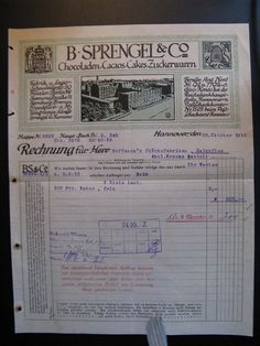 Antique Account B. Sprengel & Co, Hannover Chocoladen 1915...
