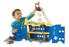Join Captain Jake as he sails the Never Sea in search of Lord Fathom and climb aboard his new ship the Mighty Colossus. This rolling ship opens into a multi-level playset that is over two feet tall w...