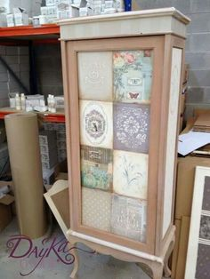 Chalk paint with paper or fabric mod podge.