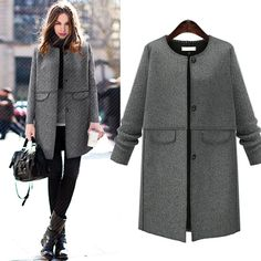 Gender: Women Outerwear Type: Wool & Blends Decoration: Button Clothing Length: Long Sleeve Style: Regular Pattern Type: Solid Type: A-Line Closure Type: Single Breasted Material: Wool,Polyester,Nylon