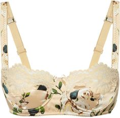 Dolce & Gabbana Rose-print stretch-silk balconette bra; gorgeous.