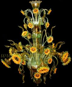 Murano glass sunflower chandelier. Wow! This would be perfect in my hall! (or dining room, if I had one).