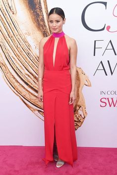 Jamie Chung Red Sleeveless Celebrity Long Prom Dress CFDA 2016