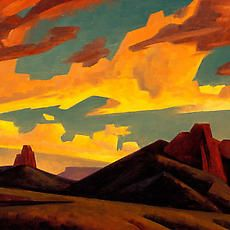 Storm's Forces - Exhibitions - The Owings Gallery Western Landscape, Landscape Art, Landscape Paintings, Klimt, Southwestern Art, Cloud Art, Desert Art, Cool Landscapes, Art And Illustration