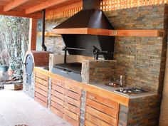 """Check out our internet site for more relevant information on """"outdoor kitchen designs layout patio"""". It is a great spot to find out more. Outdoor Kitchen Bars, Backyard Kitchen, Summer Kitchen, Outdoor Kitchen Design, Backyard Patio, Outdoor Dining, Outdoor Kitchens, Parrilla Exterior, Bbq Area"""