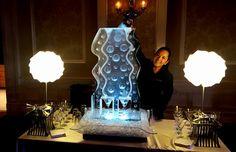 Double track bubble themed ice luge for a wedding reception. #iceluges #weddingice #weddingdecor