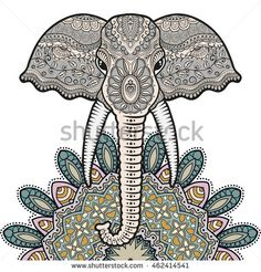 Greeting card with Elephant and Mandala ornament. Hand drawn doodle sketch animal, tribal ethnic pattern. Isolated design elements on white background. Zentangle style art