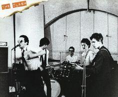 "strummerpunk: "" The Clash Mk1, early 1976 line up. From left to right: Joe Strummer, Mick Jones, Terry Chimes, Keith Levene & Paul Simonon at Rehearsal Rehearsal Studio in Camden """