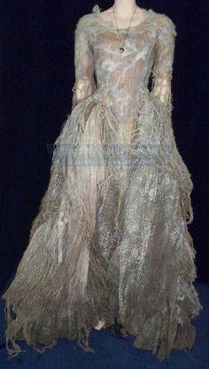 Gauzy dress with bodice worn by the 'crone' in Tim Burton's adaption of Sleepy Hollow.