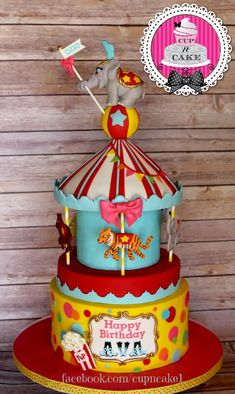I want to throw a circuscarnival party for a child This cake is