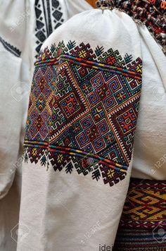 The Ukrainian female shirt is decorated with the traditional geometric embroidery.