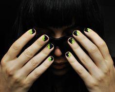 NAILS DID : Zig Zag Slash Manicure w/stipple embelishments. Base : American Apparel Neon Yellow, Knock Out Black, Sally Hansen Black Nail Art Pen Nail art & Photography : Christina Rinaldi