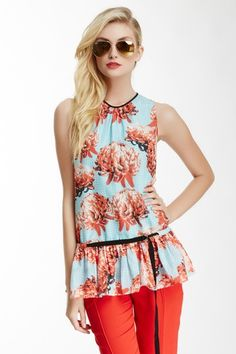 Chrysanthemum Silk Ballerina Blouse by L.A.M.B. on HauteLook